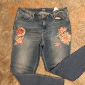 Ana size 14 denim leggings embroidery Florals